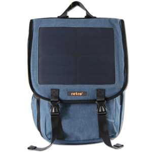 RETRO Solar Backpack 10 Watt 38L Mavi Kanvas Sırt Çantası